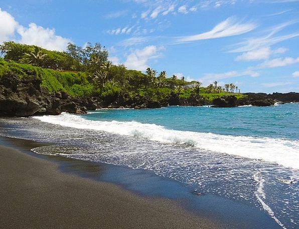 Black Sand Vacation Seashore Travel Hawaii Beach M