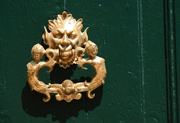 Doorknocker Nerve Metal Metallic Brass Mask Cover