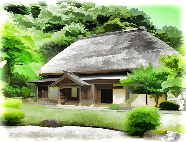 Japan Straw Grass Rural Houses Thatched Processing
