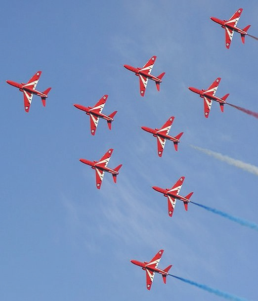 Red Arrows Airplane Aviation Aircraft Aeroplane Pl