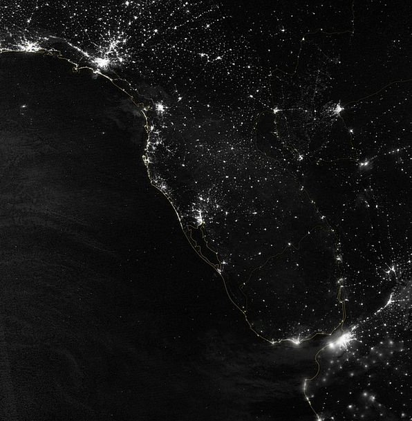 South America City Lights Atlantic Coast Populatio