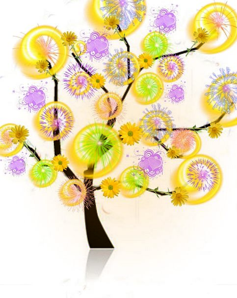 Tree Sapling Interesting Light Wheels Colorful