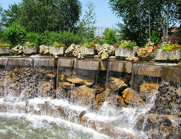 Waterfall Cascade Landscapes Nature Flowers Plants