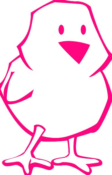 Chick Chicken Flushed Outline Plan Pink Easter Fre