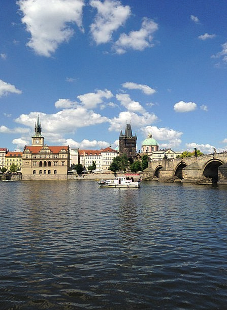 Charles Bridge Prague Vltava Steamer River Bridge