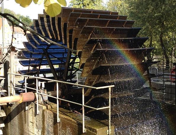 Water Aquatic Mill Wheel Wasserrrad Rainbow Multic