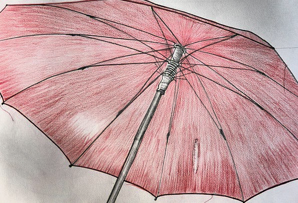 Screen Shade Canopy Red Bloodshot Umbrella Drawing