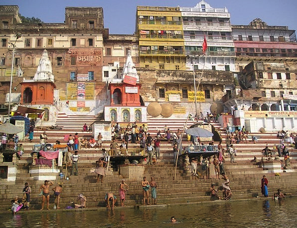 India Holy Consecrated Ganges River Stream Laundry