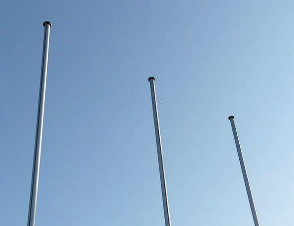 Flagpole Mast Poles Empty Unfilled Masts Sky Blue