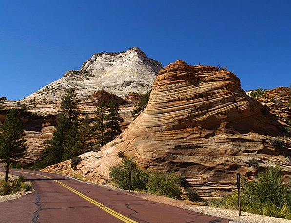 Zion National Park Usa Utah Red Road Scenery Touri