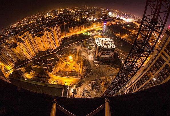 Voronezh Construction Building Night City