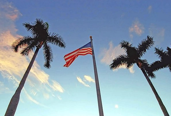Flag Standard Vacation Travel Palm Tribute America