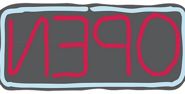 Open Exposed Symbol Neon Sign Shop Workshop Free V