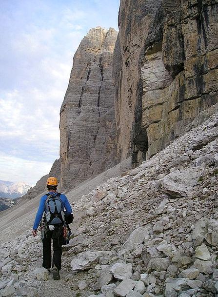 Mountaineer Hiker Three Zinnen Climber Steep North