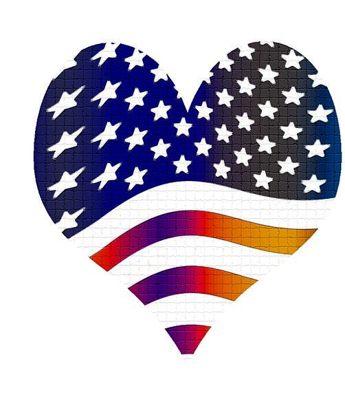 Heart Emotion Flag Standard Usa Banner Patriotic L