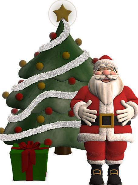 Santa Claus Bloodshot Christmas Red Tree Christmas