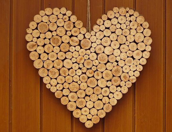 Heart Emotion Darling Wooden Heart Love Symbol Sig