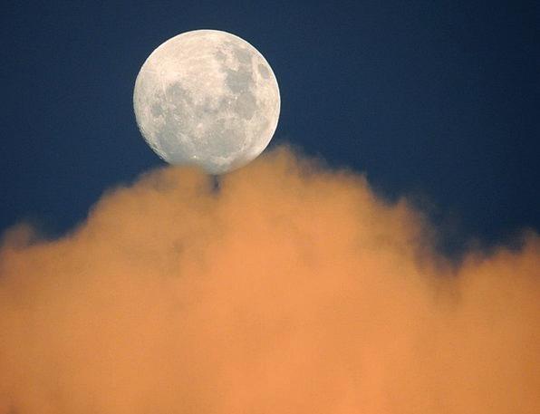 Moon Romanticize Blue Clouds Vapors Sky Day Diurna