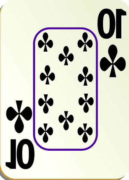 Clubs Bats 10 Ten Bordered Playing Cards Recreatio