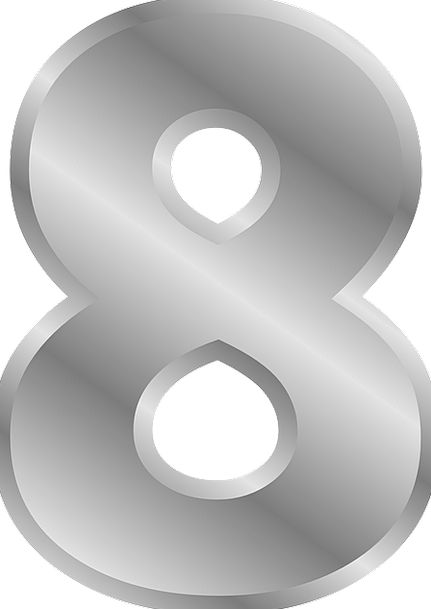 Number Amount Eight 8 Metallic Numeral Counting Ar
