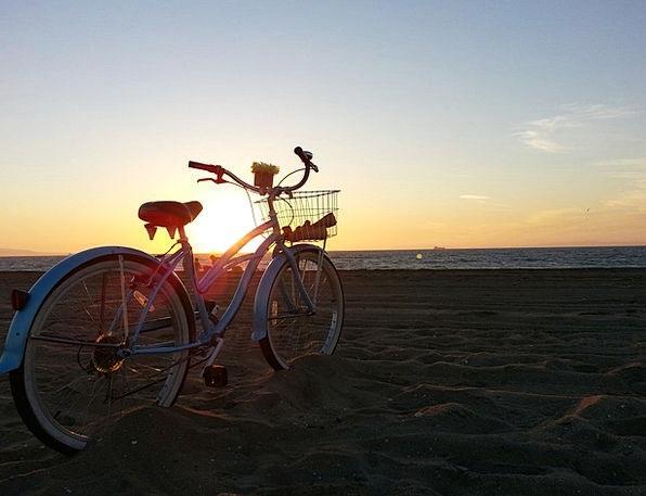Sunset Sundown Vacation Seashore Travel Bike Motor