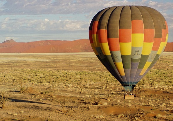 Hot Air Balloon Fly Hover Namibia Africa Colorful