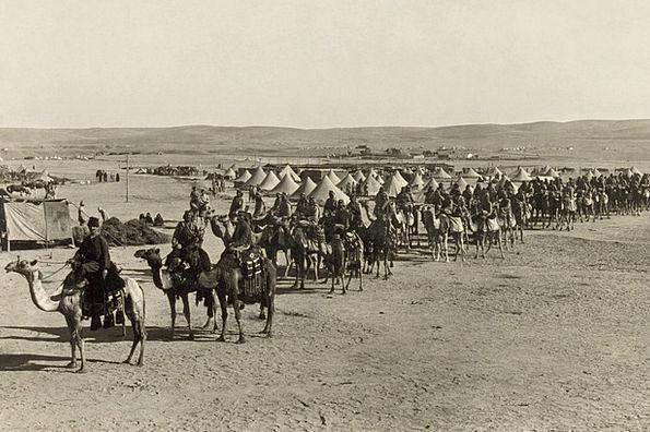 Caravan Convoy Beersheba Camels World War I 1915 S