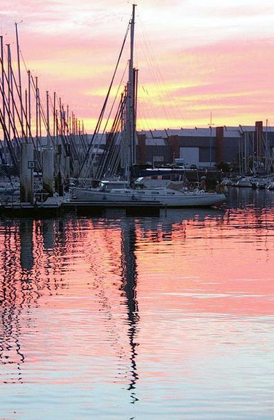 Yacht Ship Likeness Cherbourg Reflection France Du