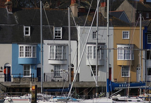 Weymouth Boats Ships Harbour Cottages Huts Colourf