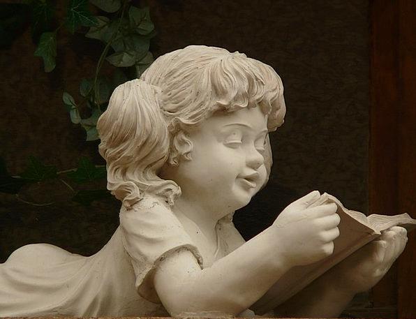 Stone Figure Lassie Stonemasonry Girl White Snowy
