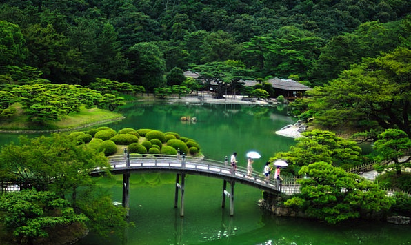 Japan Landscapes Nature Bridge Bond Japanese Garde