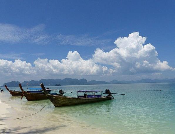 Boats Ships Krabi Beach Poda Thailand Long Boat Tr