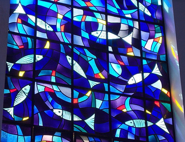 Stained Glass Fish Angle Stained Glass Windows Sym