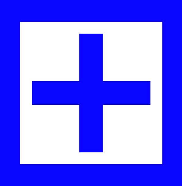 Blue Azure Four-sided Plus Desirable Square Sign S