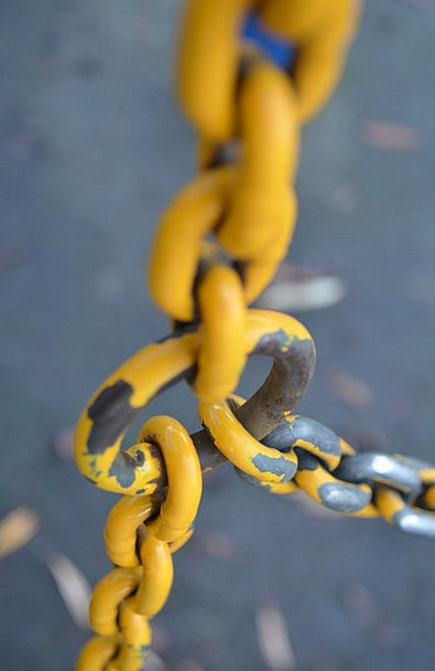 Yellow Creamy Manacles Metallic Metal Chains Shape