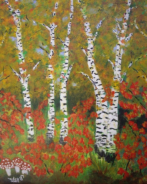 Birch Cane Landscapes Woodland Nature Painting For
