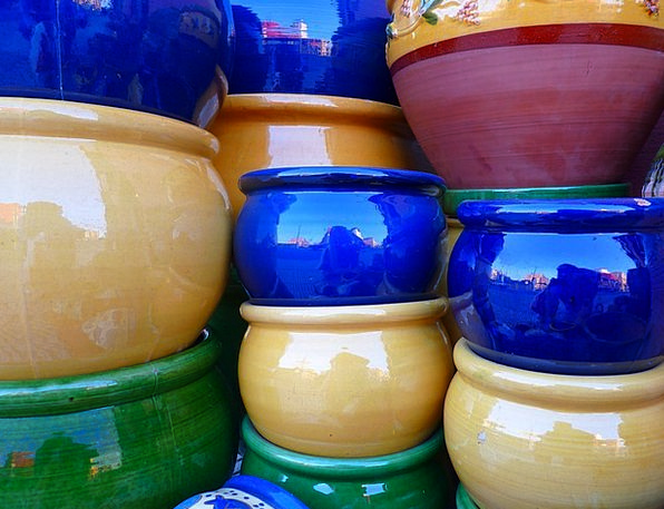 Ceramic Earthenware Vessels Colorful Interesting P