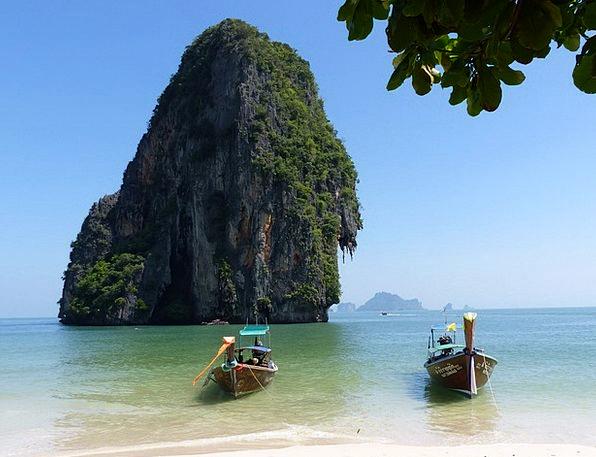 Boats Ships Krabi Spoke The Beach Thailand Long Bo