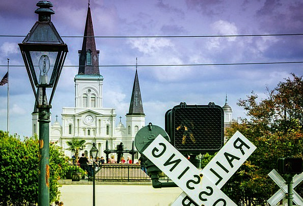 Railroad Track New Orleans French Quarter Church E