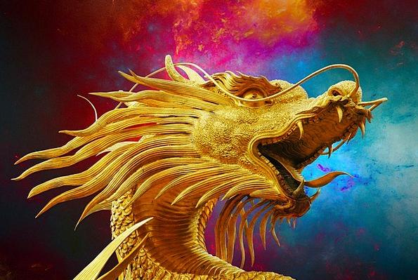 Dragon Golden Dragon Broncefigur Thailand
