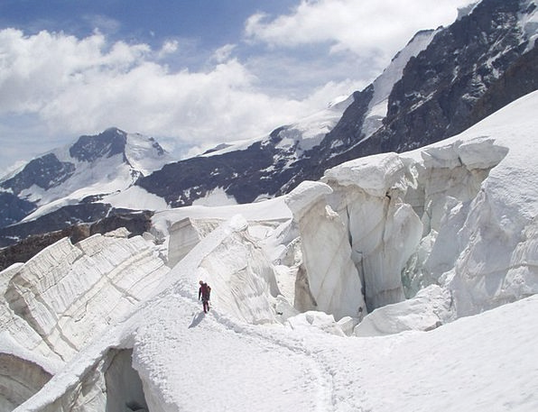 Glacier Fissure Ice Frost Crevasse Snow Bridge Win