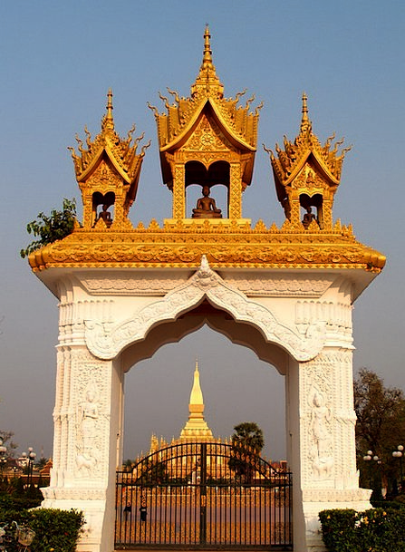 Golden Pagoda Buildings Architecture Wat Pha-That