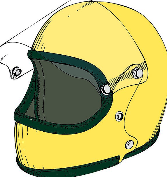 Helmet Hat Motorbike Yellow Creamy Motorcycle Safe