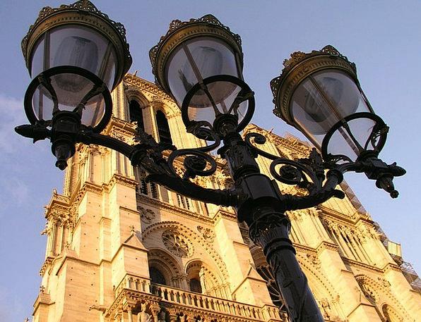 Notre Dame Paris Street Lights France Church Eccle