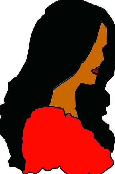 Woman Lady Fashion Outline Beauty Long Black Hair