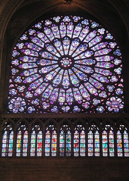 Notre Dame Cathedral Rose Stained Glass Window Arc