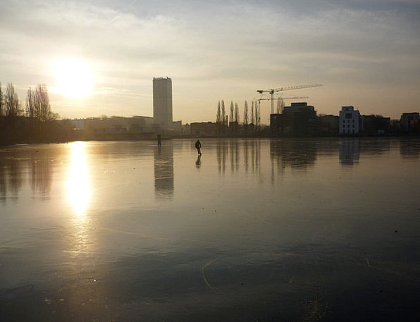Rummelsburg Bay Winter Season Berlin Ice Frost Ska