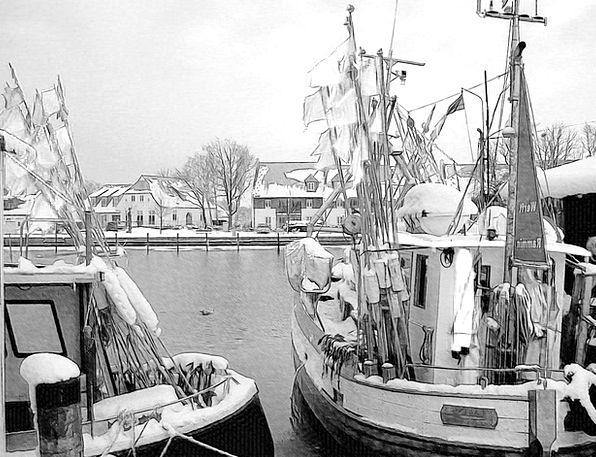 Harbor Port Traffic Ships Transportation Winter Se