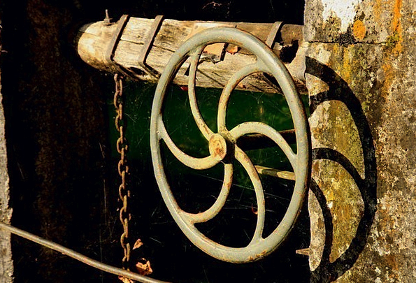 Wheel Helm Dam Blautopf Weir Lock Padlock
