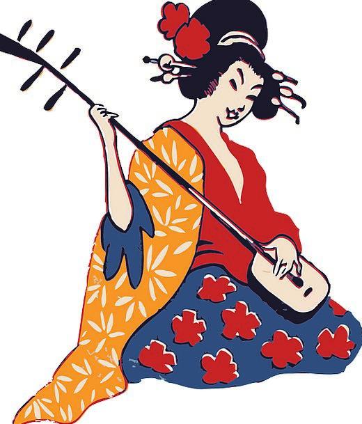 Geisha Japanese Geisha Playing Instrument Lifestyl